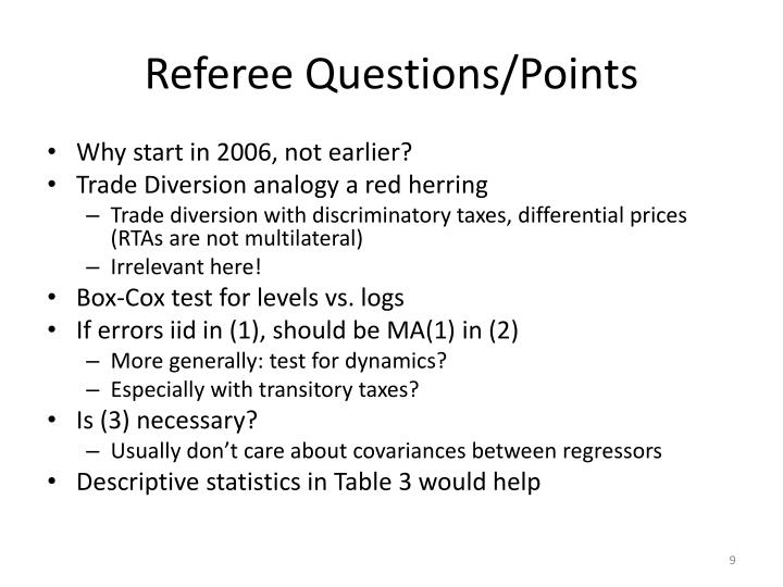 Referee Questions/Points