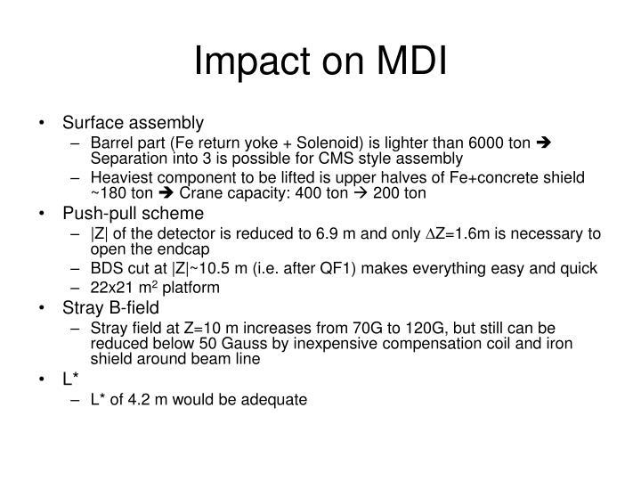 Impact on MDI