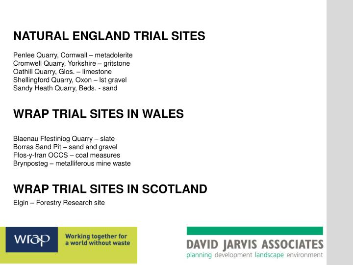 NATURAL ENGLAND TRIAL SITES