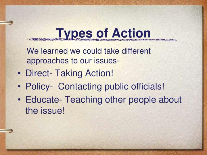 Types of Action