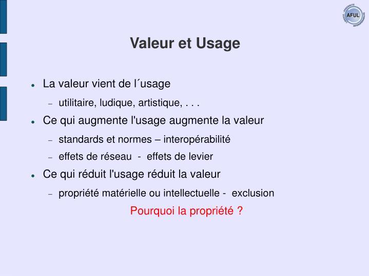 Valeur et Usage