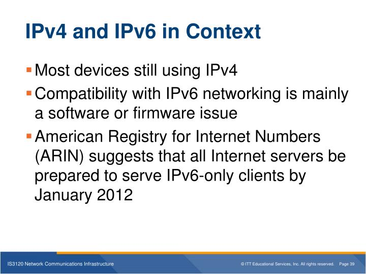 IPv4 and IPv6 in Context