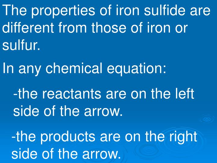 The properties of iron sulfide are different from those of iron or sulfur.