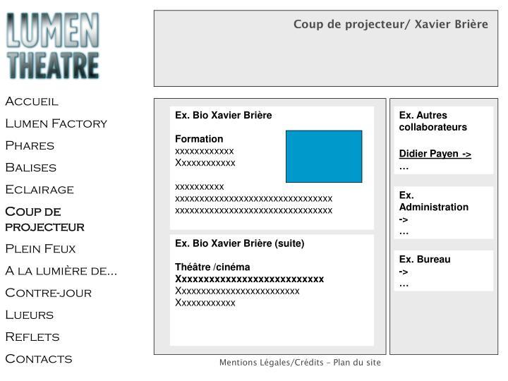 Coup de projecteur/ Xavier Brière