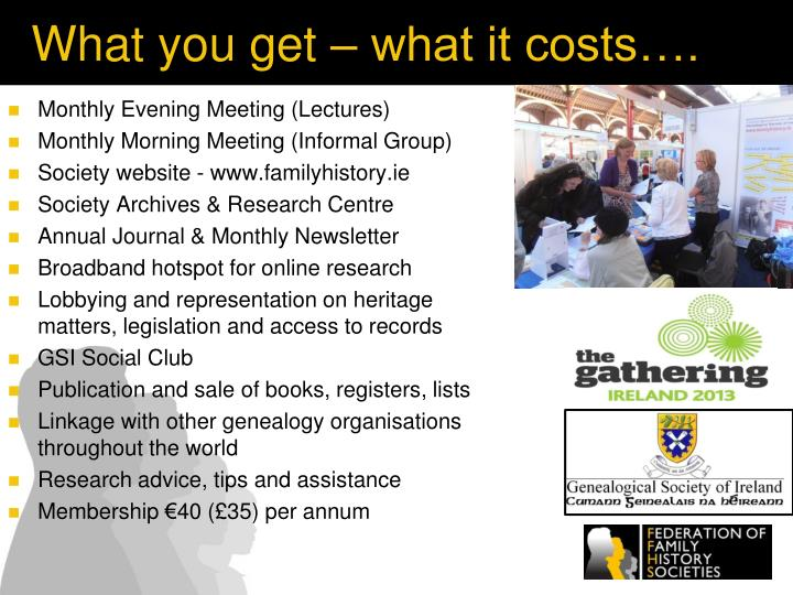 What you get – what it costs….