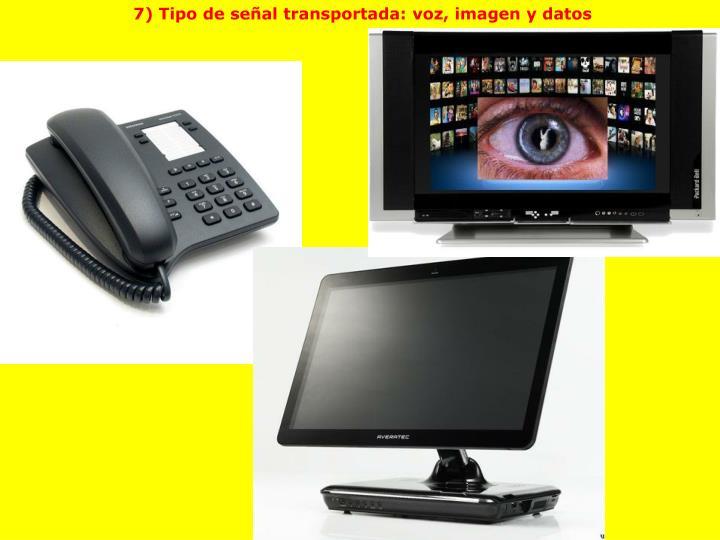 7) Tipo de señal transportada: voz, imagen y datos