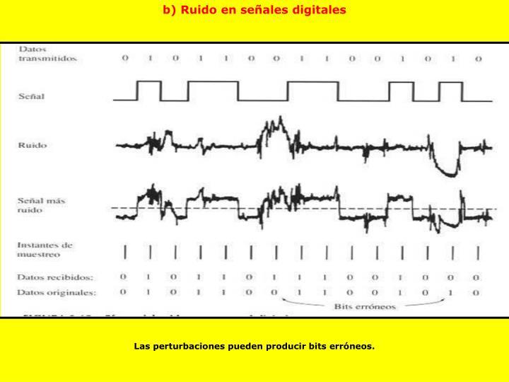 b) Ruido en señales digitales