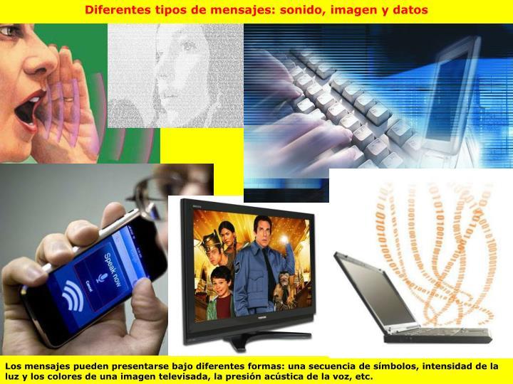 Diferentes tipos de mensajes: sonido, imagen y datos