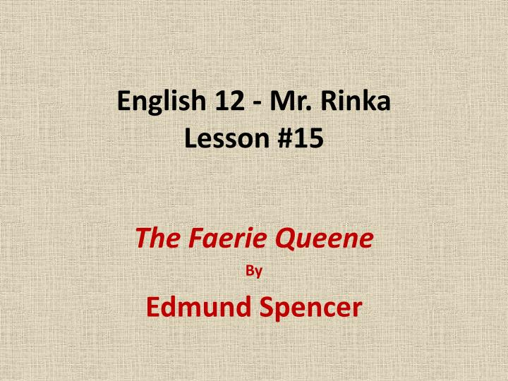 English 12 - Mr. Rinka