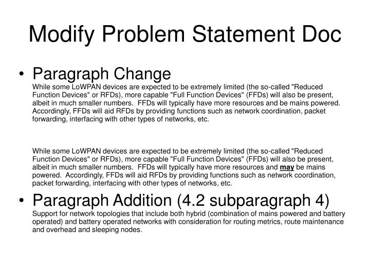 Modify Problem Statement Doc