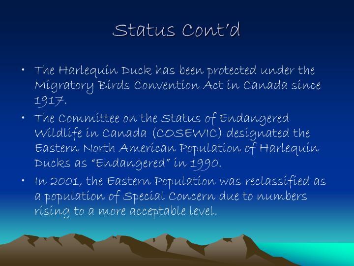 Status Cont'd