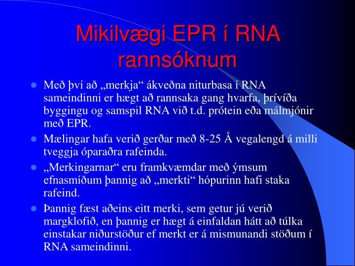 Mikilvægi EPR í RNA rannsóknum