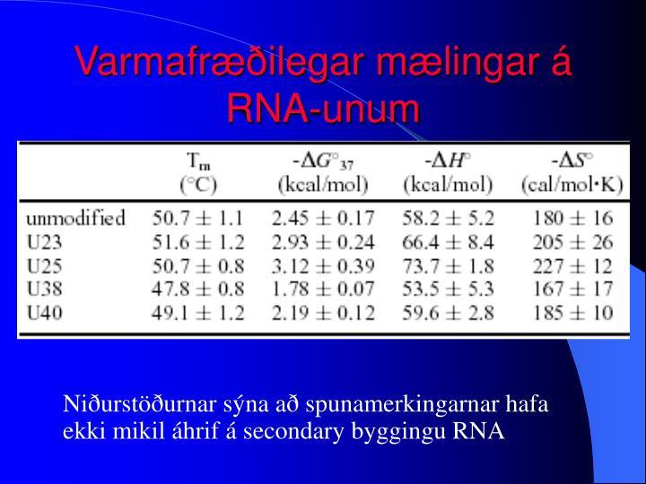 Varmafræðilegar mælingar á RNA-unum