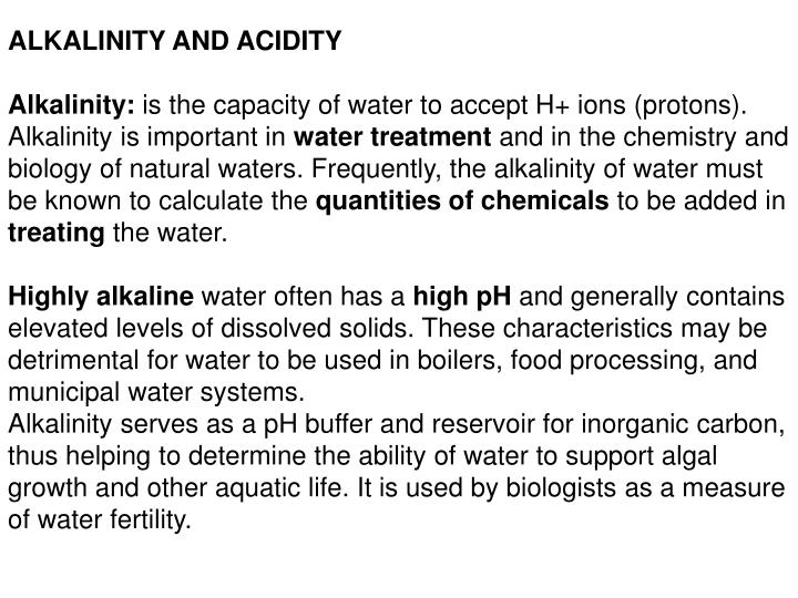 ALKALINITY AND ACIDITY
