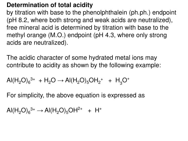 Determination of total acidity