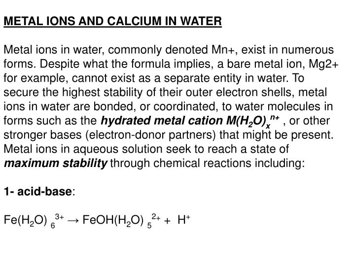 METAL IONS AND CALCIUM IN WATER