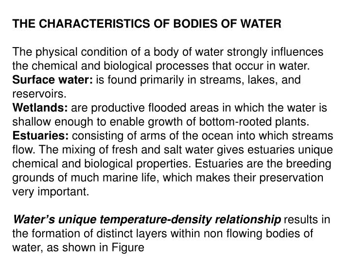 THE CHARACTERISTICS OF BODIES OF WATER