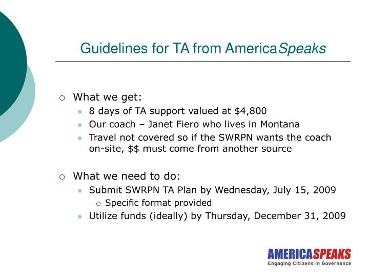 Guidelines for TA from America