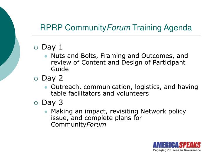 Rprp community forum training agenda
