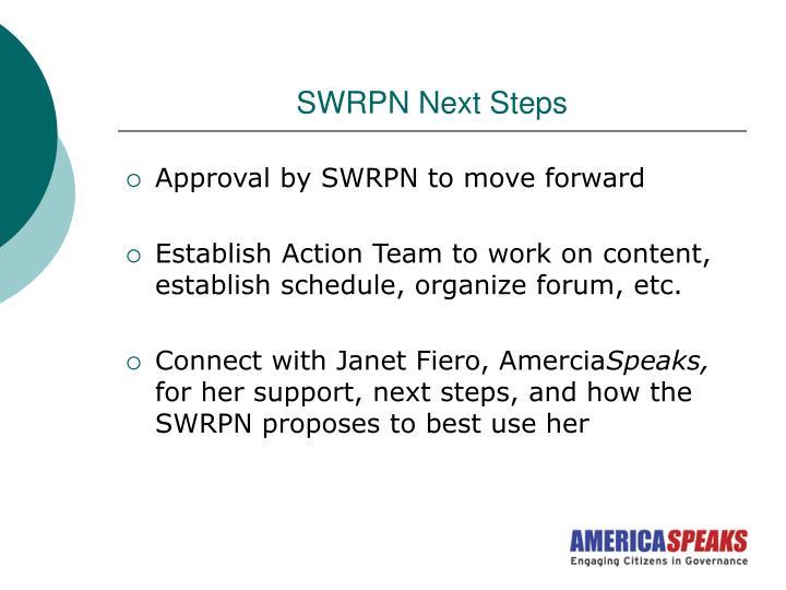 SWRPN Next Steps