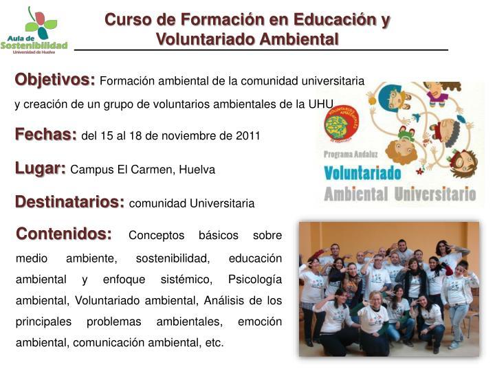 Curso de Formación en Educación y Voluntariado Ambiental