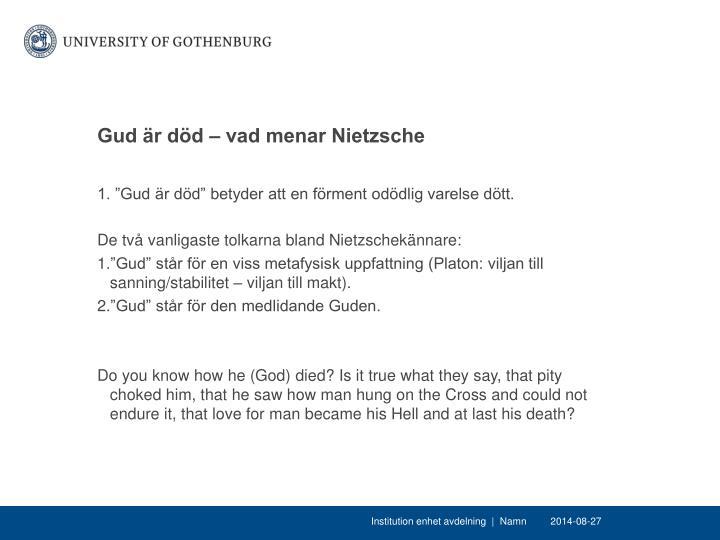 Gud är död – vad menar Nietzsche