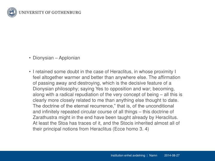 Dionysian – Applonian