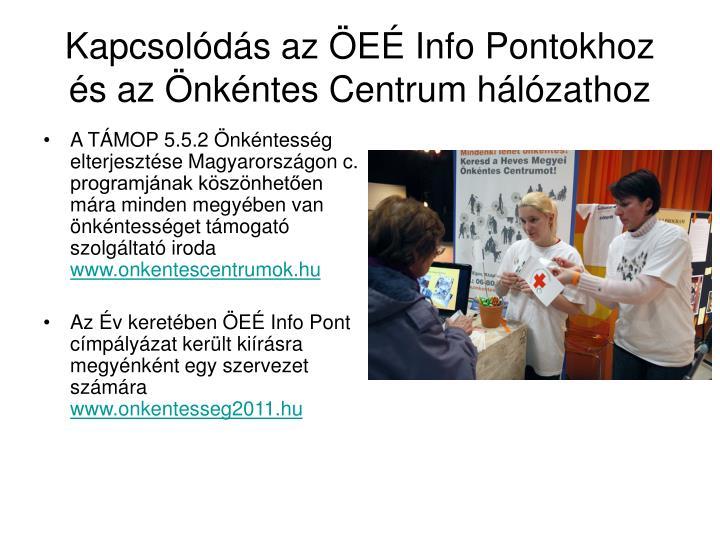 Kapcsolódás az ÖEÉ Info Pontokhoz és az Önkéntes Centrum hálózathoz