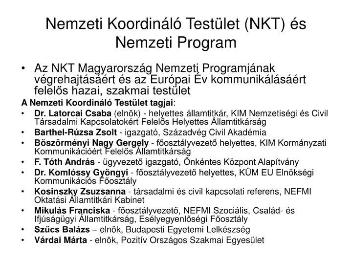 Nemzeti Koordináló Testület (NKT) és