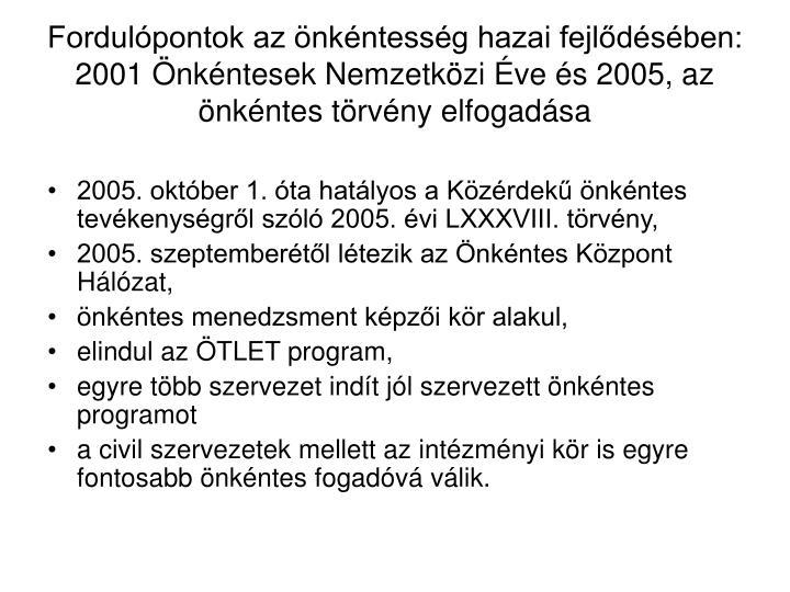 Fordulópontok az önkéntesség hazai fejlődésében: 2001 Önkéntesek Nemzetközi Éve és 2005, az önkéntes törvény elfogadása