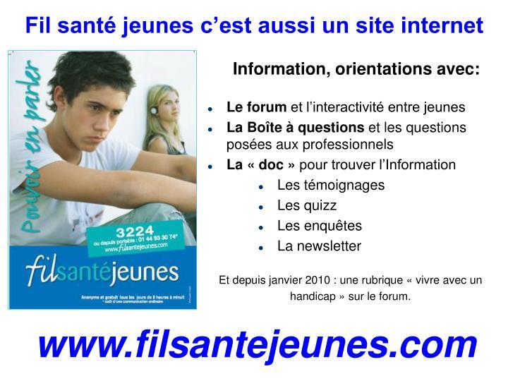Fil santé jeunes c'est aussi un site internet