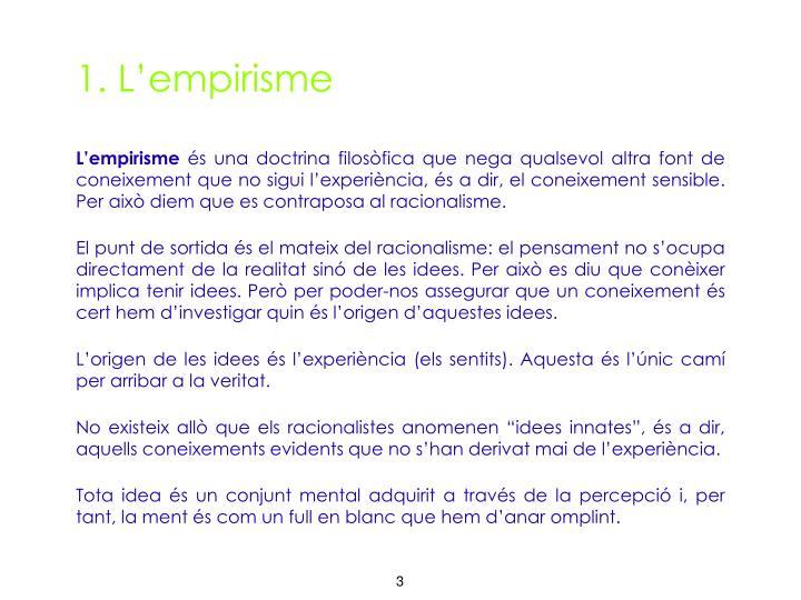 1. L'empirisme