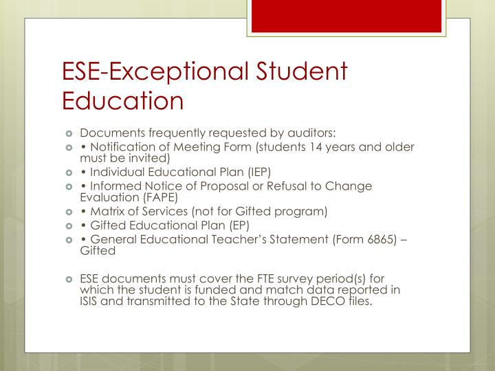 ESE-Exceptional Student Education