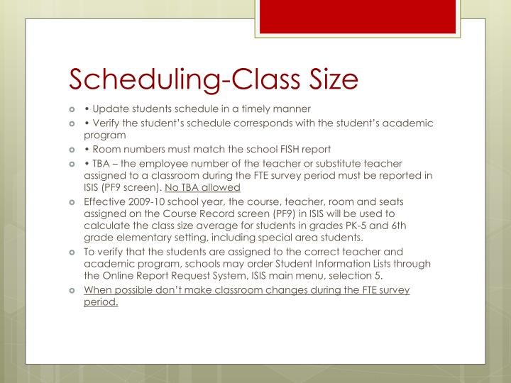 Scheduling-Class Size