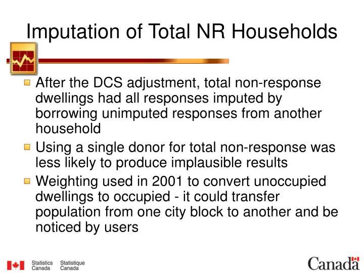Imputation of Total NR Households