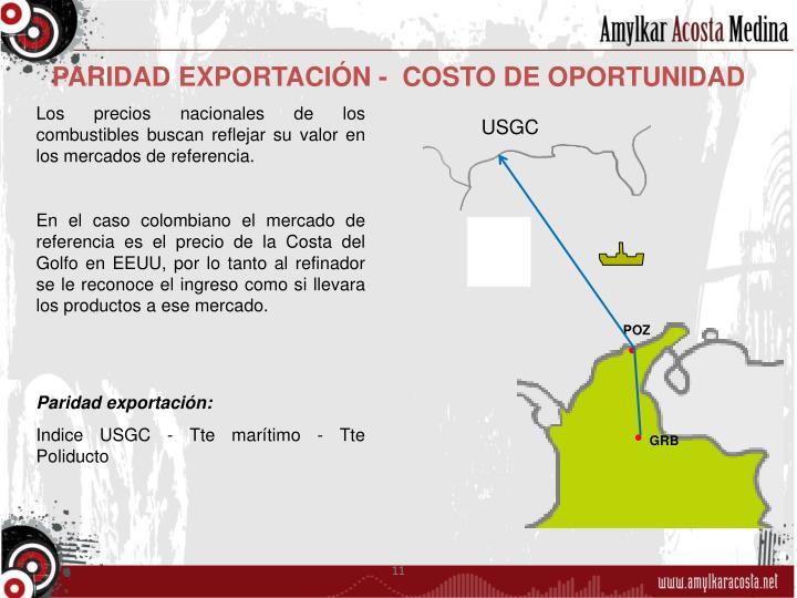 PARIDAD EXPORTACIÓN -  COSTO DE OPORTUNIDAD