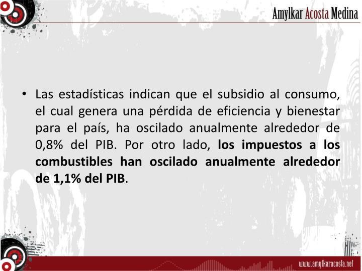 Las estadísticas indican que el subsidio al consumo, el cual genera una pérdida de eficiencia y bienestar para el país, ha oscilado anualmente alrededor de 0,8% del PIB. Por otro lado,