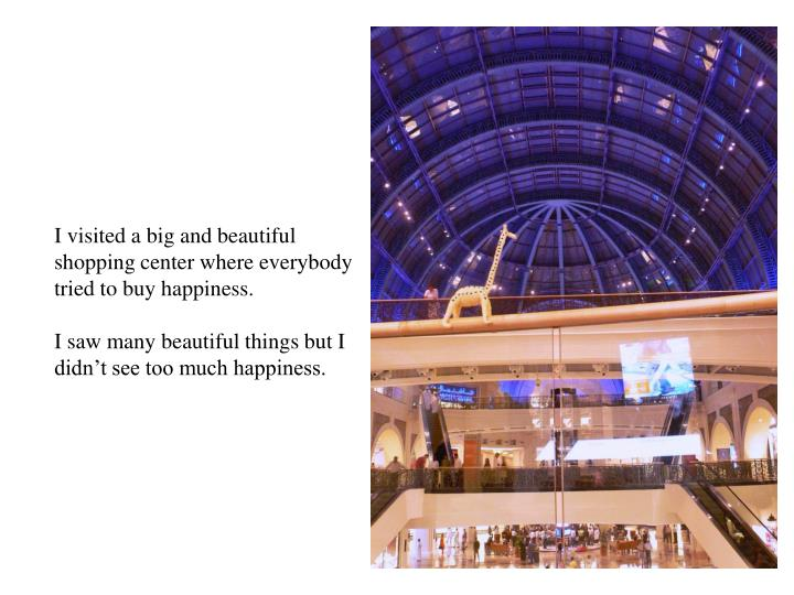 I visited a big and beautiful shopping center where everybody tried to buy happiness.