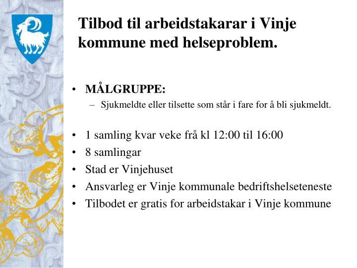 Tilbod til arbeidstakarar i Vinje kommune med helseproblem.