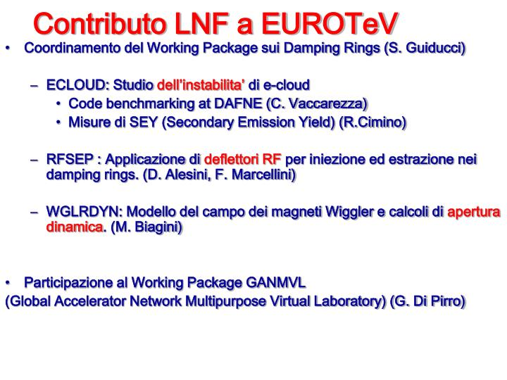 Contributo LNF a EUROTeV