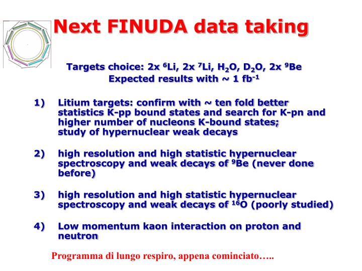 Next FINUDA data taking