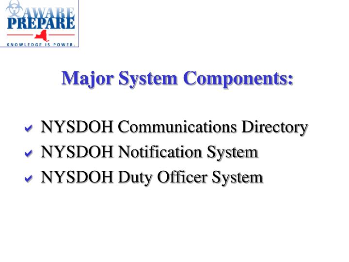 Major System Components: