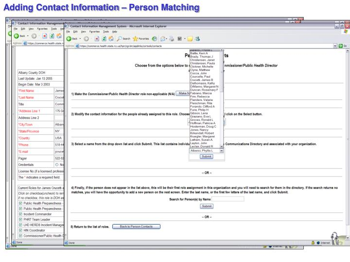 Adding Contact Information – Person Matching