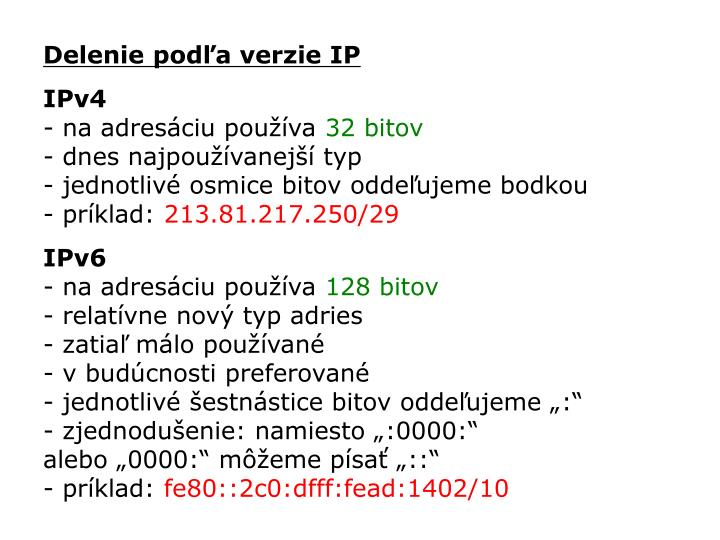Delenie podľa verzie IP