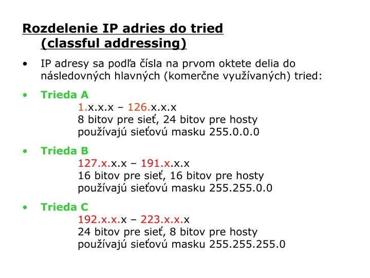 Rozdelenie IP adries do tried