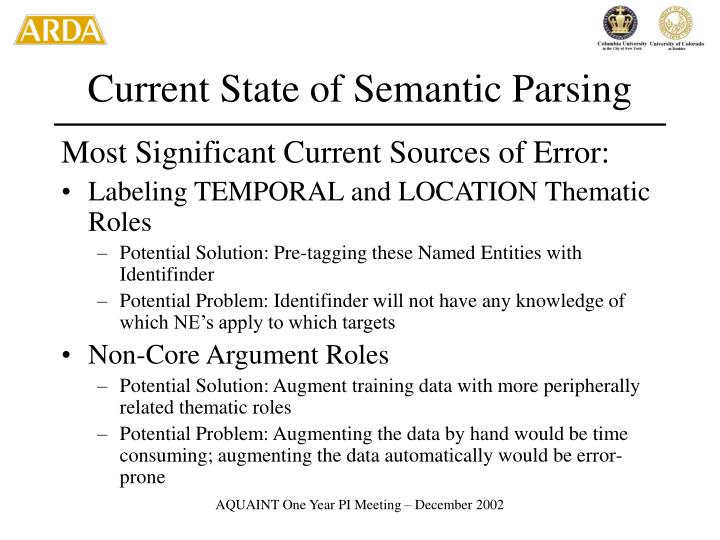 Current State of Semantic Parsing