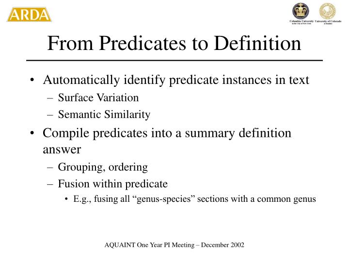 From Predicates to Definition