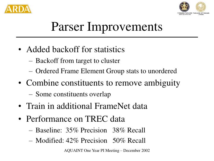 Parser Improvements