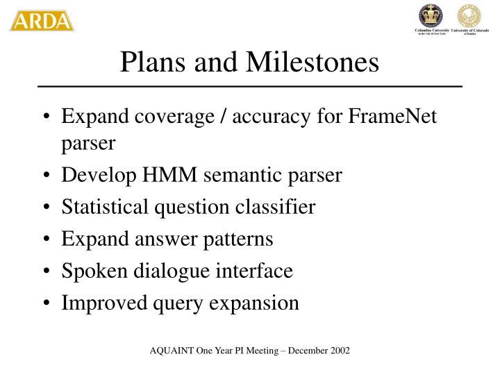 Plans and Milestones
