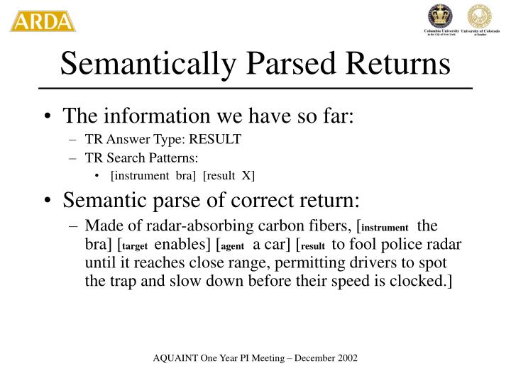 Semantically Parsed Returns